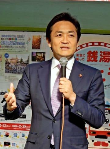 演説する国民民主党・玉木雄一郎代表