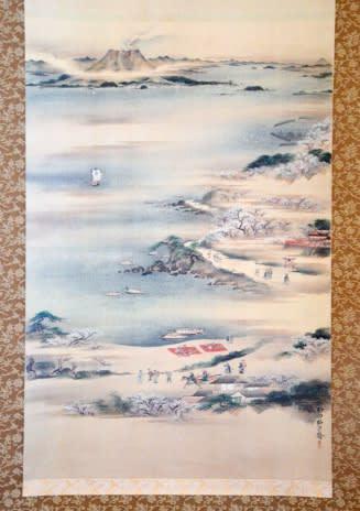 磯から見た桜島などが描かれた「薩州桜島真景図」の複製