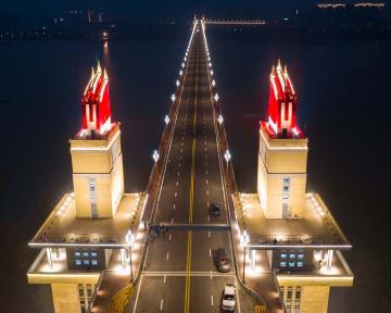 南京長江大橋、ライトアップで新たな魅力