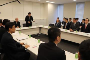 新幹線建設費増加分の財源確保策を了承した与党PTの会合=衆院第2議員会館