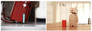 子供の位置を知らせるホイッスル型端末(左)と家庭で子供を見守るコミュニケーションロボット「ボッコ」