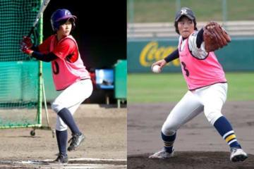 11月の入団テストを受けていた竹内聖賀(左)、米田咲良【写真提供:日本女子プロ野球リーグ】