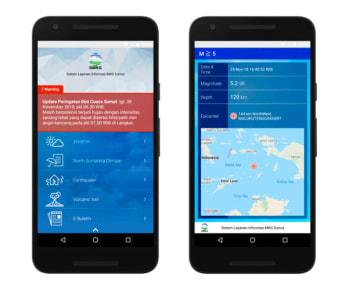 アールシーソリューションがインドネシア気象庁北スマトラ州事務所と共同開発した防災アプリ「Slim Sumut」の表示画面(同社提供)