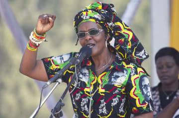 ジンバブエのムガベ前大統領の妻グレース氏=2017年(AP=共同)
