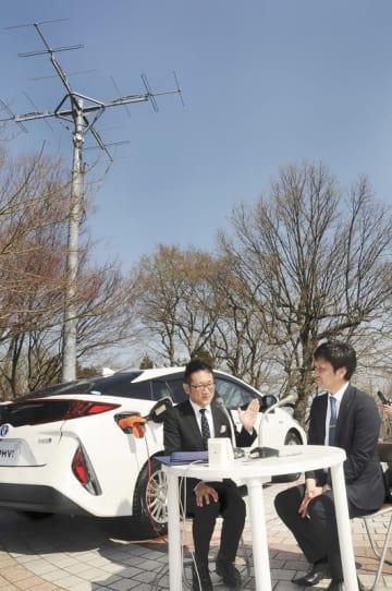 PHVを電源とした3月の福井県鯖江市西山公園での訓練放送。今回はFMアンテナなど機材のない場所からの生放送となる