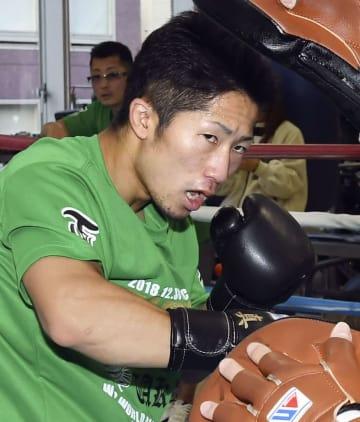 WBCバンタム級暫定王座決定戦に向け、練習を公開した井上拓真=横浜市