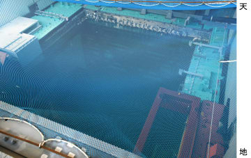 東京電力福島第1原発3号機の使用済み核燃料プール=2月、福島県大熊町