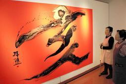 「亥」をテーマにしたアート展=朝来市多々良木