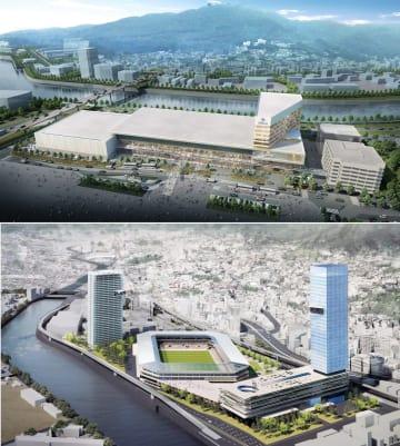 MICE施設を中核とする複合施設(上)とサッカー専用スタジアムなどの完成予想図