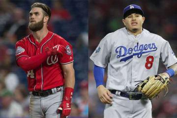 ハーパー(左)やマチャドらの大型契約が予測されており、来季の平均年俸はどういう傾向を見せるだろうか【写真:Getty Images】