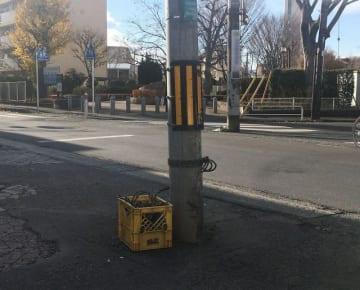 男性がロープに引っ掛かり転倒した現場。電柱に結んであるのは張られていたロープ=26日午後、相模原市南区