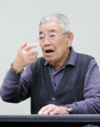 旧優生保護法の違憲性について言及しない国の姿勢に憤る小林宝二さん=神戸市中央区、兵庫県弁護士会館