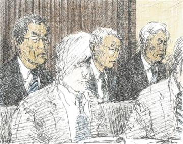 論告求刑公判に出廷した(左から)武黒元副社長、勝俣元会長、武藤元副社長(イラスト・勝山展年)