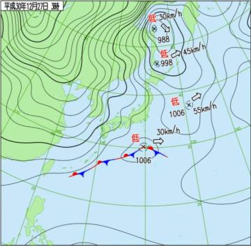12月27日午前3時の日本周辺域天気図(気象庁HPから)