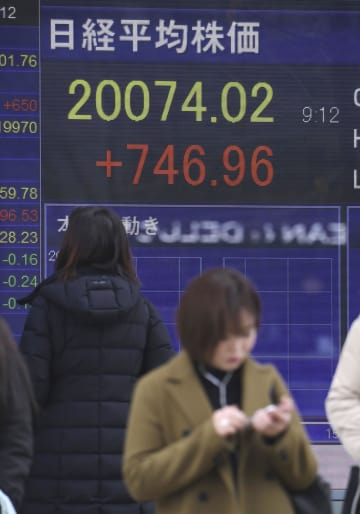 日経平均株価が2万円台を回復したことを示すボード=27日午前、東京・八重洲