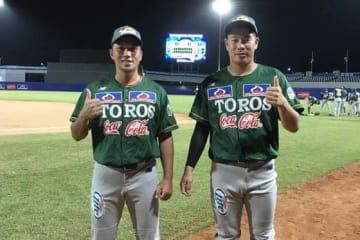 コロンビアのウインターリーグで奮闘する樽見万寿樹(左)と片山悠【写真:福岡吉央】