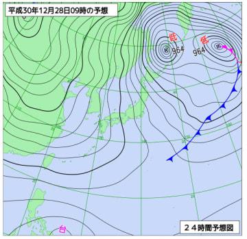 12月28日午前9時の日本周辺域天気図(気象庁HPから)