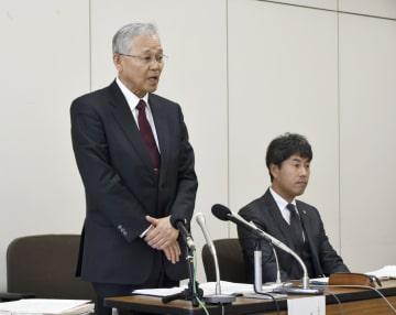 報告書を公表する第三者委員会=28日、広島市