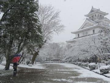 樹木や建物がうっすらと雪化粧した豊公園(28日午前9時15分、滋賀県長浜市公園町)