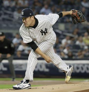米大リーグ・ヤンキースの田中将大投手=9月、ニューヨーク(共同)