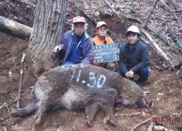 体重200キロを超えるとみられる大型のイノシシを捕獲した大越さん(中央)ら(大越さん提供)