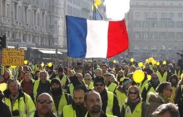 マルセイユの抗議デモ=29日(AP=共同)