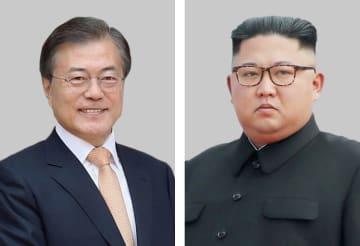 韓国の文在寅大統領(聯合=共同)、北朝鮮の金正恩朝鮮労働党委員長