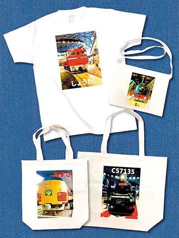 館内を撮影した写真で作るオリジナルTシャツやバッグ(提供写真)