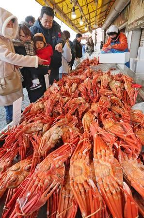 「魚の市場通り」でズワイガニなどを品定めする家族連れら=30日、長岡市寺泊下荒町