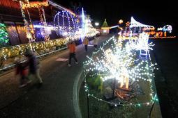 きらびやかな電飾が民家や畑を彩る「ミヤナリエ」=神河町宮野