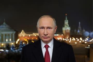 国民向けメッセージを発表したロシアのプーチン大統領=12月31日(ロシア大統領府提供、タス=共同)