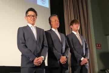 イベントに参加した西武・伊藤翔、辻発彦監督、今井達也(左から)【写真:岩国誠】