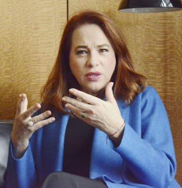 ニューヨークの国連本部で取材に応じる国連総会のエスピノサ議長=2018年11月(共同)
