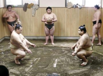 田子ノ浦部屋で稽古する稀勢の里(左)と高安=東京都江戸川区