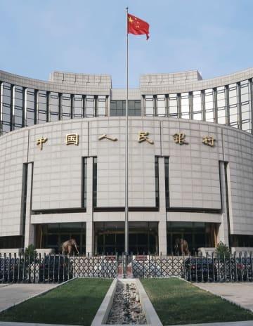 北京の中国人民銀行=2018年11月(共同)