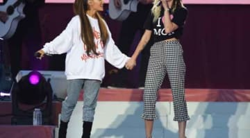 MANCHESTER, ENGLAND - JUNE 04: NO SALES, free for editorial use. In this handout provided by 'One Love Manchester' benefit concert (L) Ariana Grande and Miley Cyrus perform on stage on June 4, 2017 in Manchester, England. Donate at...