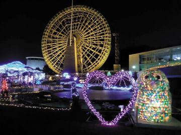 冬の夜空に彩りを添えているイルミネーション=埼玉県寄居町の県立川の博物館