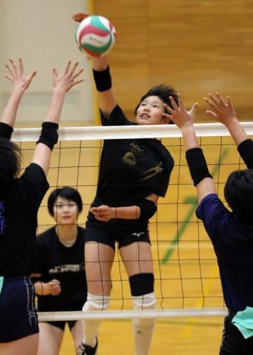 主将のMB本山(中央)が引っ張る女子の九州文化学園=佐世保市、九州文化学園高体育館