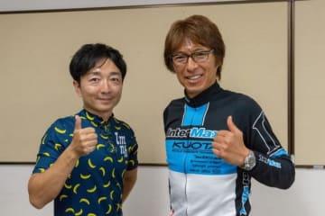 元プロロードレーサーの今中大介さん(右)と野島
