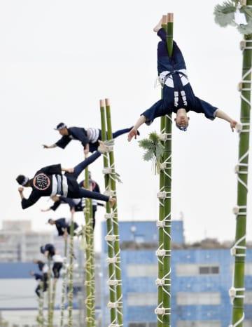 東京消防庁の出初め式で披露されたはしご乗り=6日午前、東京都江東区の東京ビッグサイト