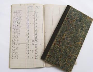 旧制第一高等中学校で夏目漱石や正岡子規を教えた松本源太郎の手帳。試験の成績が記されている