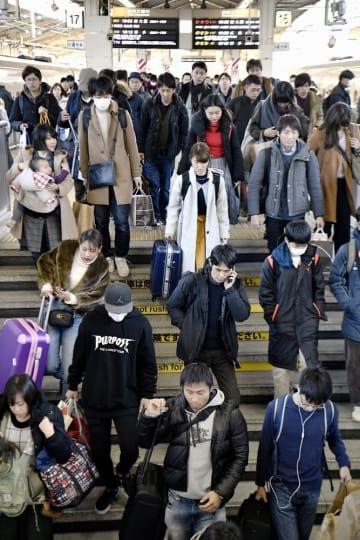 年末年始のUターンラッシュがピークを迎え、混み合うJR東京駅の新幹線ホーム=3日