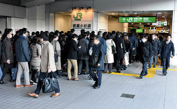 混雑時の武蔵小杉駅(午前8時30分ごろ)