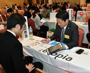 事業内容を説明する参加企業の担当者=7日、鳥取市永楽温泉町のホテルモナーク鳥取