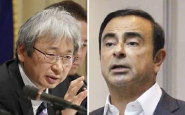 日本外国特派員協会で記者会見する大鶴基成弁護士(左)=2018年1月8日 日産自動車前会長のカルロス・ゴーン容疑者(右)