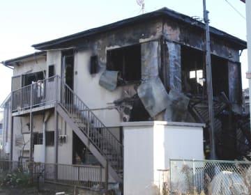 火災のあった住宅=9日午前7時30分ごろ、神奈川県小田原市清水新田