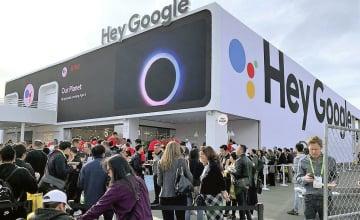 家電見本市「CES」の会場にグーグルが設けた特設ブース=8日、米ラスベガス(共同)