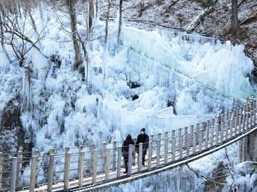 つり橋からダイナミックな氷の芸術が楽しめる「尾ノ内百景氷柱」=9日午前11時ごろ、埼玉県小鹿野町河原沢の尾ノ内渓谷