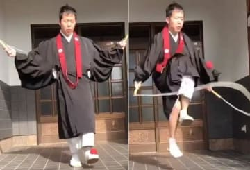 三原貴嗣住職がツイッターに投稿した動画。赤色の小さいボールをリフティングしながら縄跳びをしている