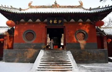 少林寺がうっすら雪化粧 河南省登封市